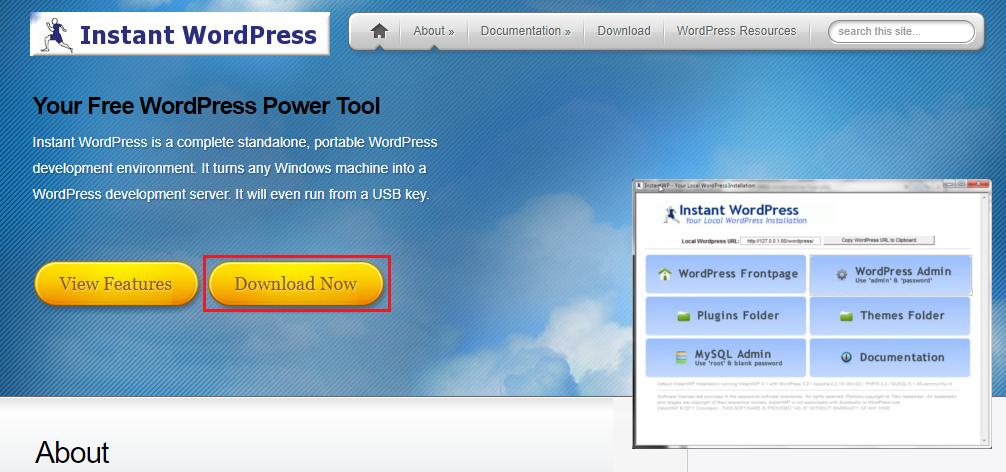 InstantWordPressの公式サイト訪問