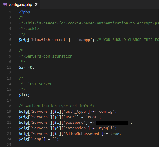 phpMyAdminの設定ファイル変更